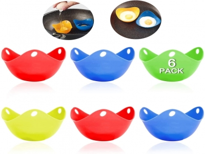 Silicone Egg Poaching Cups, Perfect Poached Egg Maker, Non-Stick Poached Eggs Cups, Microwave Egg Poacher, BPA Free Silicone Egg Poacher Cups(Multicolor, 6Pack)